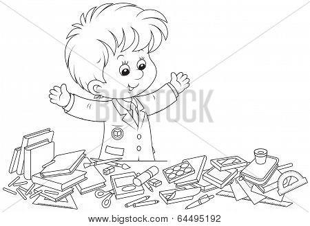 Schoolboy preparing for school