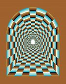 Tunnel Vision Optical Illusion. Abstract illusion of tunnel effect abstract. Abstract Tunnel Background poster