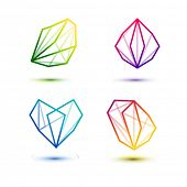 Polygon symbol icons Set - Isolated On White Background - Vector Illustration, Graphic Design Editable For Your Design.  poster