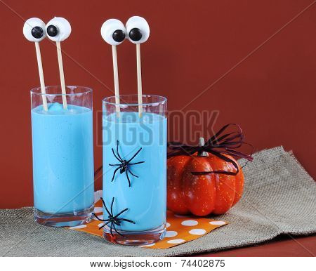 Blue Halloween Smoothie with Marshmallow Eyes