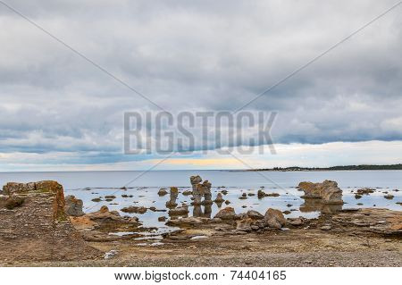 Iconic rauk landscape on Gotland, Sweden