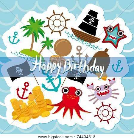 Happy Birthday Card pirate. Cute party invitation animals design. vector poster