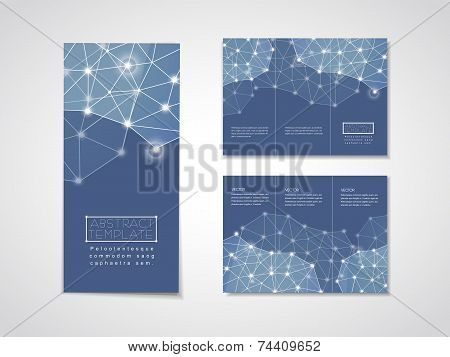 soft geometric background design for tri-fold brochure template in blue poster