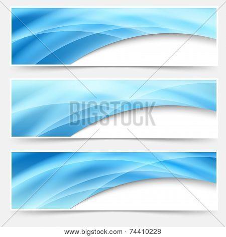 Blue Glow Swoosh Line Header Footer Set