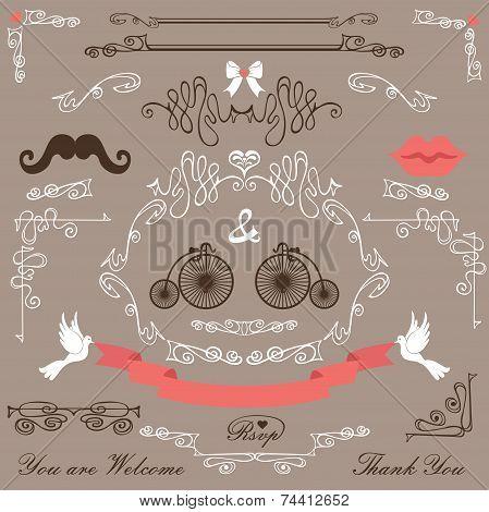 Vintage Wedding design elements set