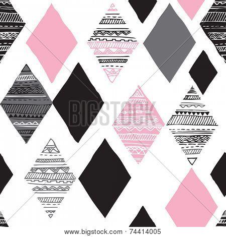 Seamless geometric diamond tribal triangle hand drawn background pattern in vector