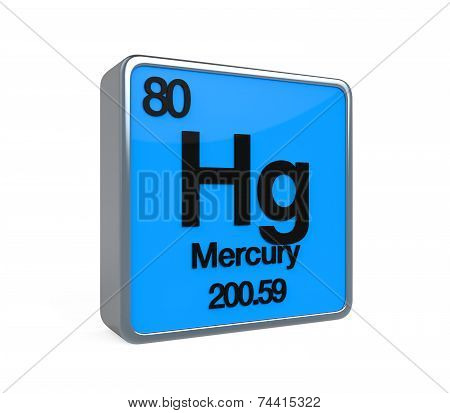 Mercury Element Periodic Table isolated on white background. 3D render poster