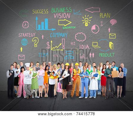 Group of workers people over grey wall background