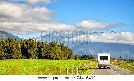 Highway Road Freeway To Lake Hawea In Wanaka New Zealand
