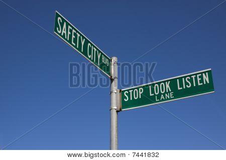 Traffic signs at traffic safety school.
