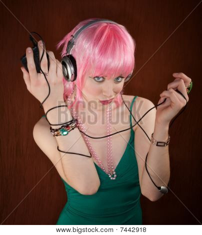 Disco Woman With Pink Hair