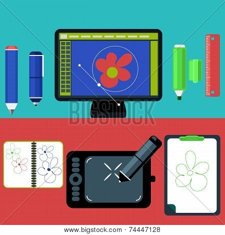 Computer monitor with the screen of the program for design and architecture in flat design. Modern devices set. Web design concept with concepts items icons poster