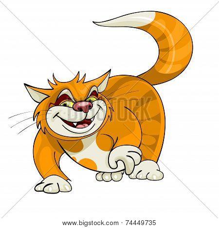 Cartoon Yellow Cat Walks.eps