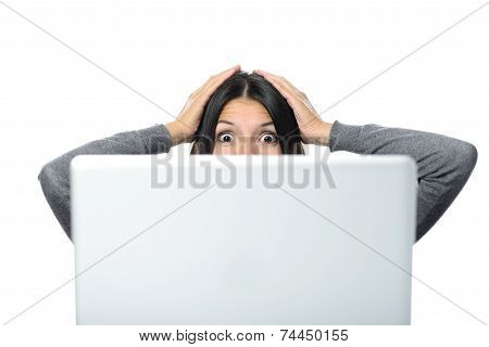 Woman In Surprise Facial Expression With Computer
