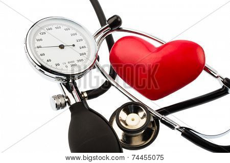 a sphygmomanometer, a heart and stethoscope lying on a white background