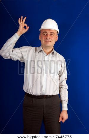 Foreman In White Hard Hat