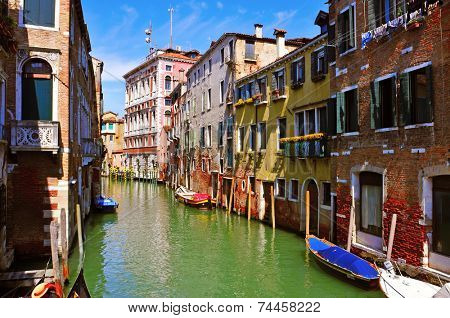 view of a secondary canal, called rio in venezian dialect, in Venice, Italy