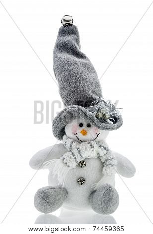 Snowman Christmas cuddly toy on white background poster