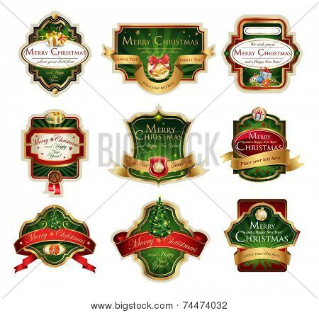 Christmas vector frames and ornamental labels set. Easy to scale and edit. All pieces are separated.