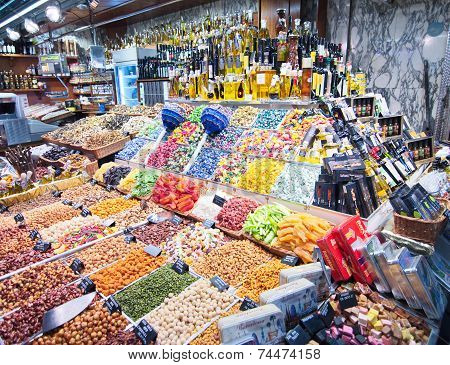 Colorful Candy And Drinks In The Barcelona La Boqueria Market