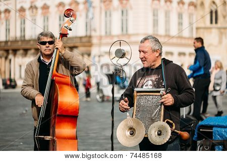Street Busker Performing Jazz Songs At The Old Town Square In Prague