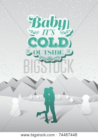 Digitally generated Baby its cold outside christmas vector
