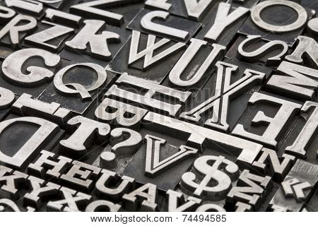 metal type abstract - vintage letterpress printing blocks with letters, dollar sign and question mark poster