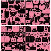 Set of seamless patterns with woman bags and handbags. Ready to use as swatch poster