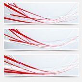 Bright red speed rapid swoosh stream line header - footer web set. Vector illustration poster