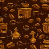 Seamless pattern with handdrawn coffee cups beans grinder coffee pot calligraphic text COFFEE. Background design for cafe or restaurant menu. poster