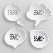 Search. White flat vector buttons on gray background. poster