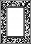 vector floral black and white fancy frame poster