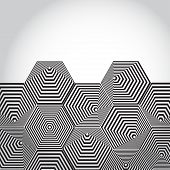Volumetric 3D pyramid. hexagon. Optical illusion Black and white lines vector poster