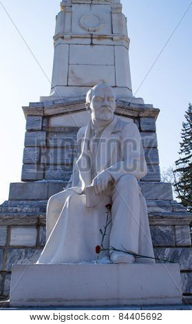 Lenin Statue In White With Blue Sky