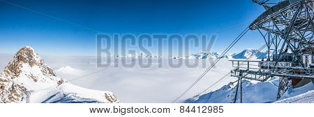 Panoramic view of mountains peaks in French Alps.