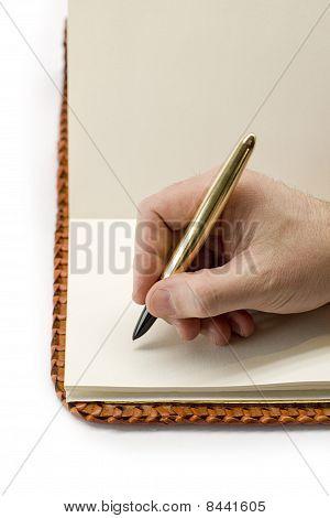 Writing in blank book