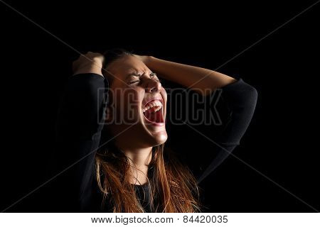 Depressed Woman Crying And Shouting Desperate In Black
