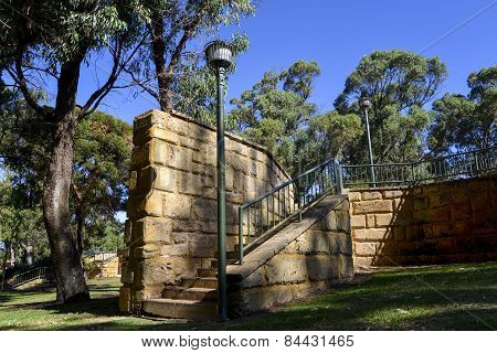Scenic light post and brick stairway in Neil Hawkins Park in Joondalup