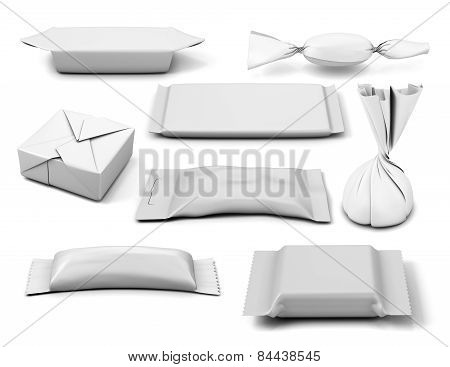 Collection Of  Various White Bag Package Template On White Background