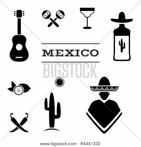 vector mexico icons,