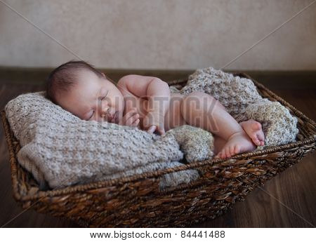 One Month Old Baby Boy In The Basket