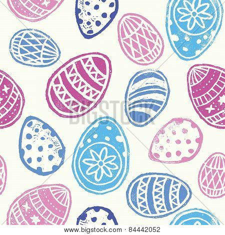 easter eggs lino-cut print seamless pattern repeat