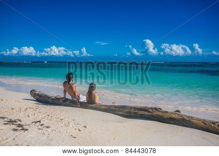 Young Couple In Love At Akumal Near Playa Del Carmen And Cancun, Mexico. Traveling America, Quintana
