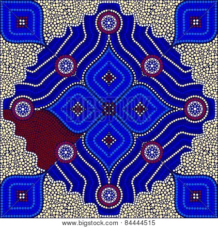 An Illustration Based On Aboriginal Style Of Dot Painting Depicting Strangers - Yellow
