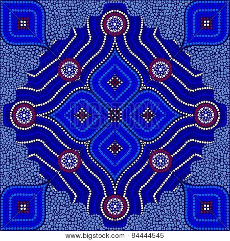 An Illustration Based On Aboriginal Style Of Dot Painting Depicting Strangers (blue)