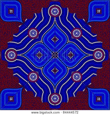 An Illustration Based On Aboriginal Style Of Dot Painting Depicting Strangers (red)