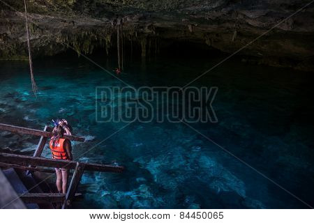 Snorkeling Cenote Cavern At Tulum. Cancun. Traveling Through Mexico.