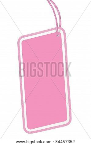 Blank Pink Cardboard Sale Tag Empty Price Label Pricetag Badge Isolated Macro Closeup Vertical Copy