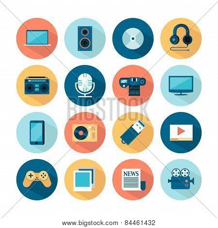 Set Of Flat Multimedia Icons