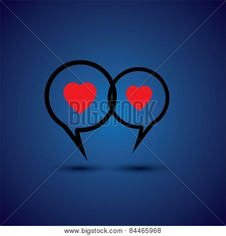 Intimate Couple Doing Love Talk - Concept Vector Line Icon